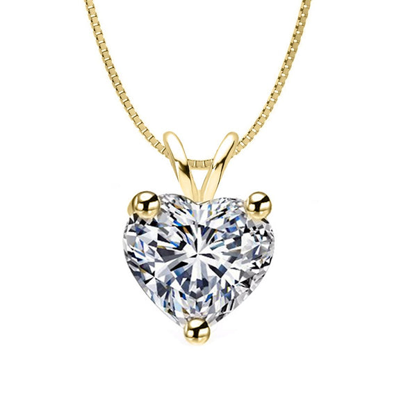 14 KARAT YELLOW GOLD HEART PENDANT WITH BOX CHAIN. BUILD YOUR OWN PENDANT.