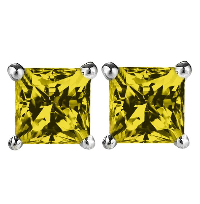 14 KARAT WHITE GOLD CITRINE PRINCESS. Choose From 0.25 CTW To 10.00 CTW