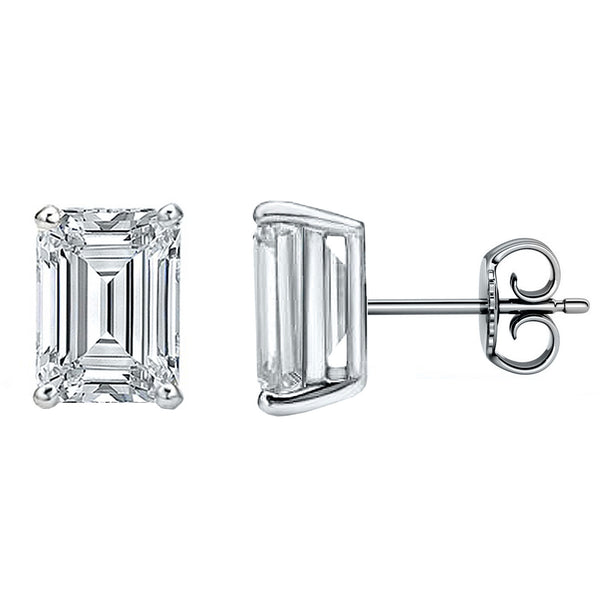 18 Karat White Gold 4-Prong Basket Emerald Cut Push Back Stud Earrings. Available From .25 Carat To 10 Carat.