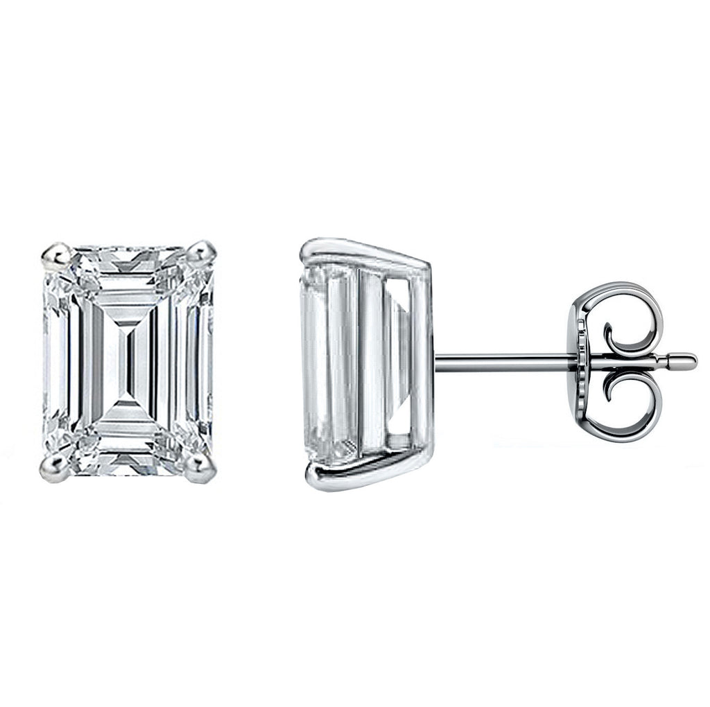 14 Karat Emerald Cut Stud Earring 4.00 Carat Total weight.