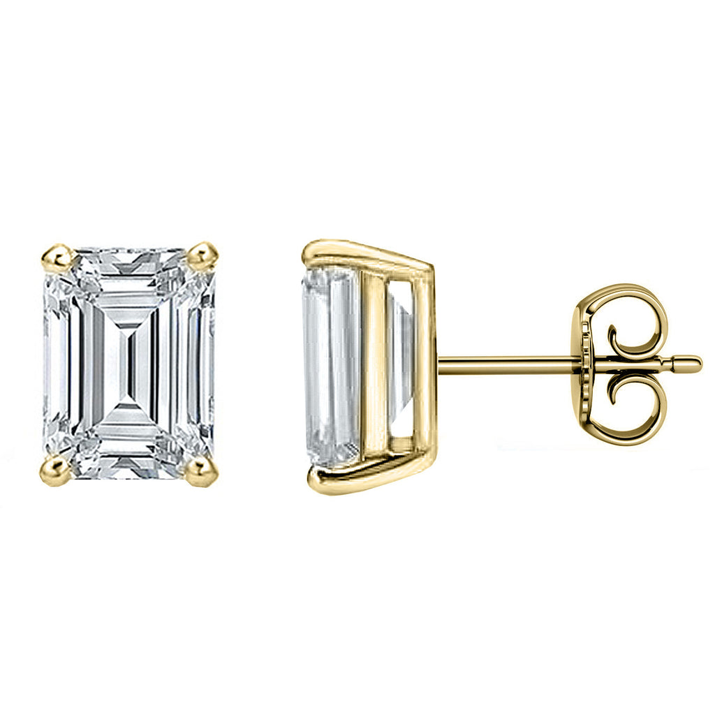 14 Karat or 18 Karat Yellow Gold Emerald Cut Stud Earrings With Plain Post Backing. Choose From 0.50 Carat To 10.00 Carat Total Weight.