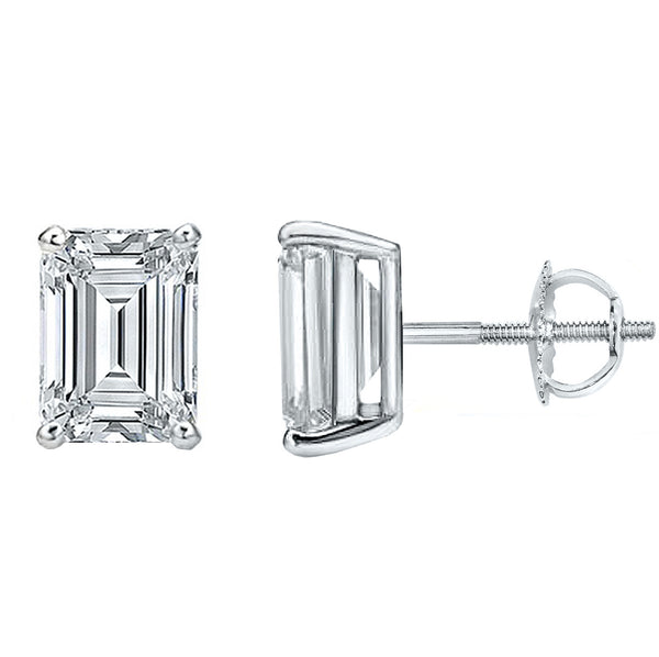 14 Karat Emerald Cut Screw Back Stud Earring 2.00 Carat Total weight.