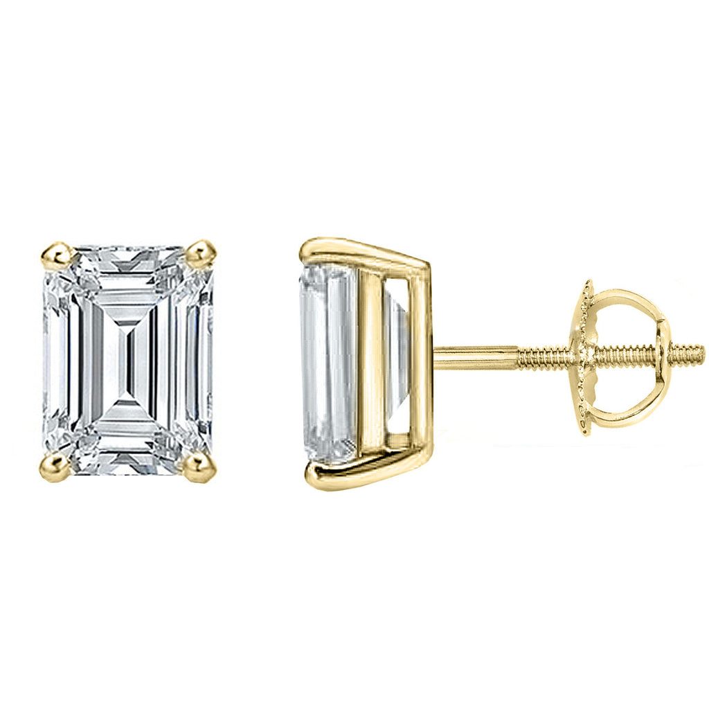 14 Karat or 18 Karat Yellow Gold Emerald Cut Stud Earrings With Screw Post Backing. Choose From 0.50 Carat To 10.00 Carat Total Weight.