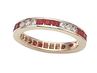 Double Row Eternity Band With Round Stones In 9 Carat Total Weight.