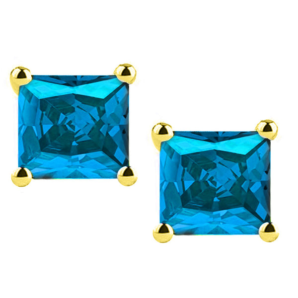 18 Karat Yellow Gold Synthetic Blue Topaz 4-Prong Basket Princess Cut Push Back Stud Earrings. Available From .50 Carat To 4 Carat.