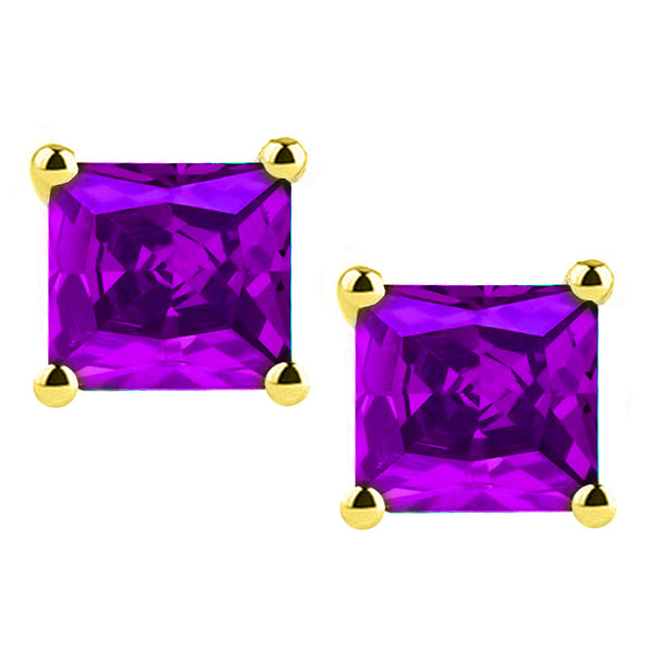 14 Karat Yellow Gold Synthetic Amethyst 4-Prong Basket Princess Cut Push Back Stud Earrings. Available From .50 Carat To 4 Carat.