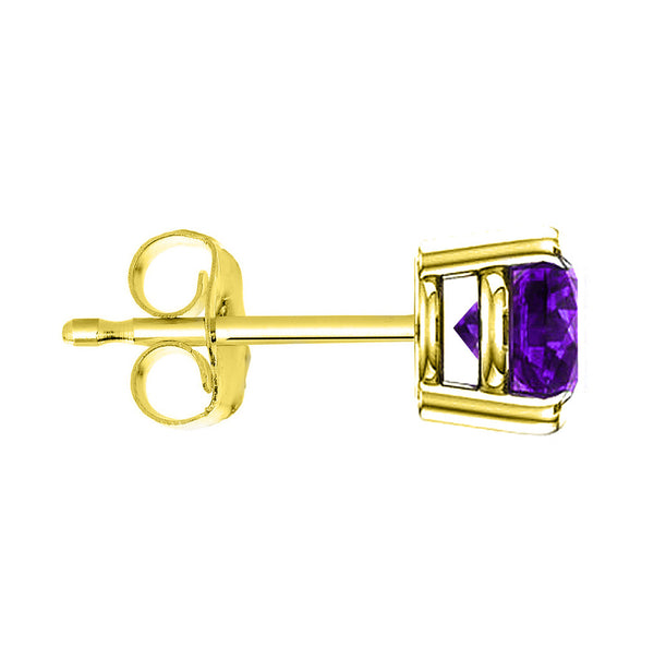 18 Karat Yellow Gold Synthetic Amethyst 4-Prong Round Push Back Stud Earrings.  Available From .25 Carat To 4 Carat.