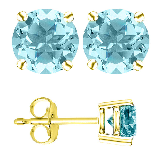 18 Karat Yellow Gold Synthetic Aquamarine 4-Prong Round Push Back Stud Earrings.  Available From .25 Carat To 4 Carat.