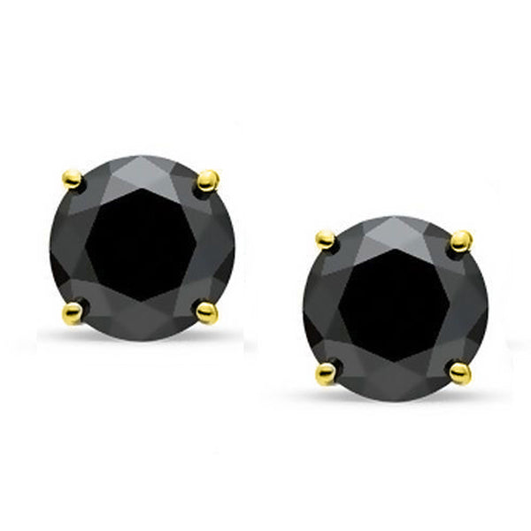 18 Karat Yellow Gold Synthetic Black Onix 4-Prong Round Push Back Stud Earrings.  Available From .25 Carat To 4 Carat.