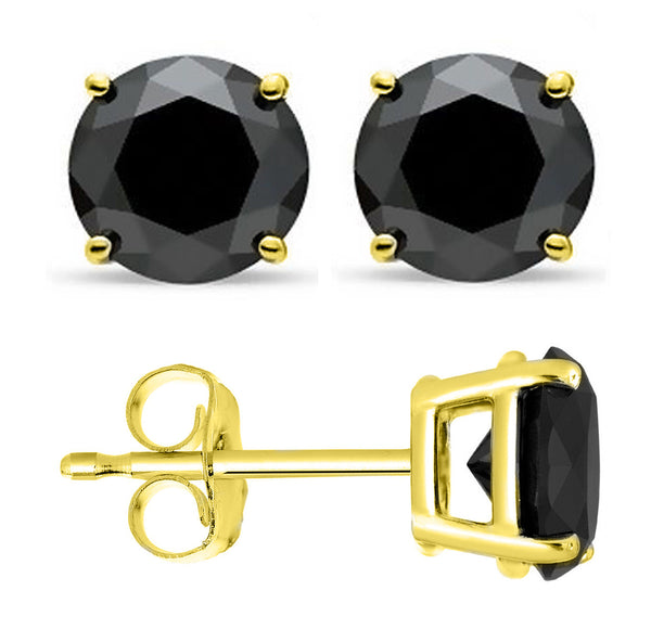 14 Karat Yellow Gold Synthetic Black Onix 4-Prong Round Push Back Stud Earrings.  Available From .25 Carat To 4 Carat.