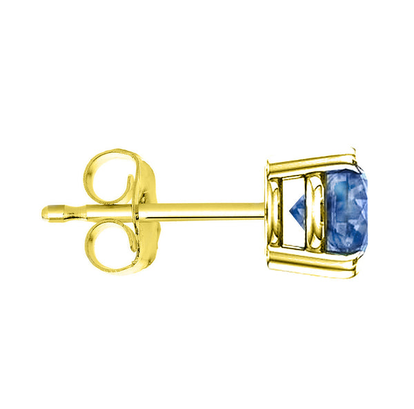 18 Karat Yellow Gold Synthetic Blue Topaz 4-Prong Round Push Back Stud Earrings.  Available From .25 Carat To 4 Carat.