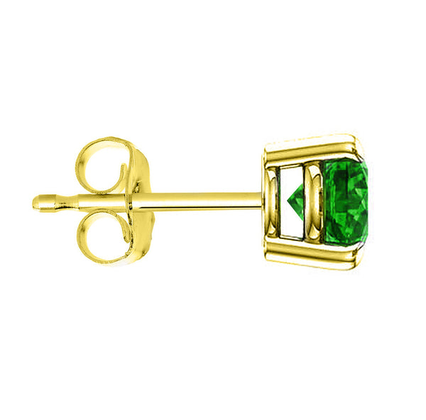 14 Karat Yellow Gold Synthetic Emerald 4-Prong Round Push Back Stud Earrings.  Available From .25 Carat To 4 Carat.