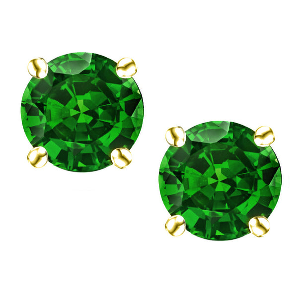18 Karat Yellow Gold Synthetic Emerald 4-Prong Round Push Back Stud Earrings.  Available From .25 Carat To 4 Carat.