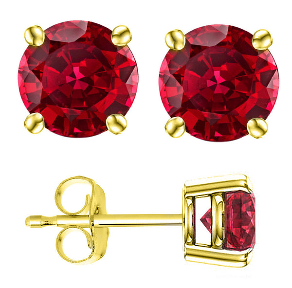 14 Karat Yellow Gold Synthetic Garnet 4-Prong Round Push Back Stud Earrings.  Available From .25 Carat To 4 Carat.