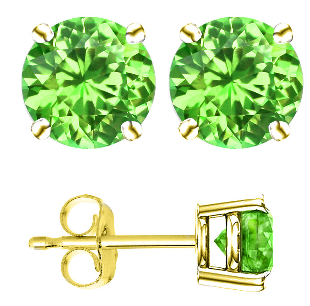 18 Karat Yellow Gold Synthetic Peridot 4-Prong Round Push Back Stud Earrings.  Available From .25 Carat To 4 Carat.