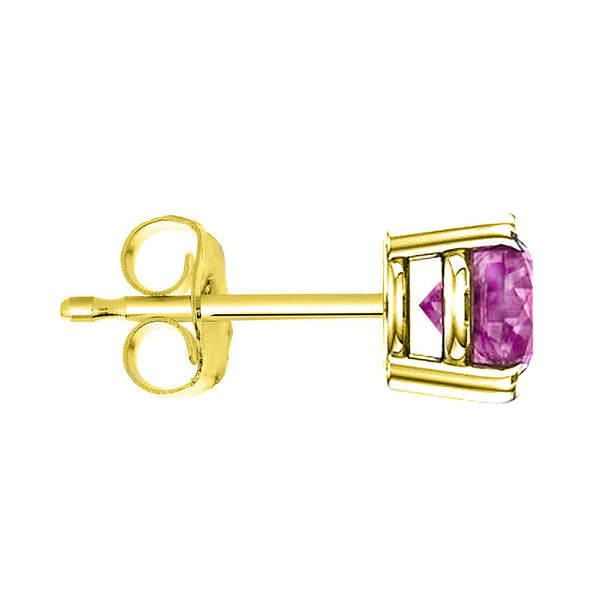 18 Karat Yellow Gold Synthetic Pink Topaz 4-Prong Round Push Back Stud Earrings.  Available From .25 Carat To 4 Carat.
