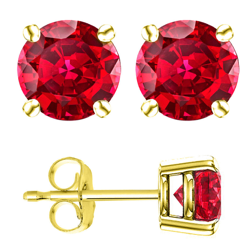 14 Karat Yellow Gold Synthetic Ruby 4-Prong Round Push Back Stud Earrings.  Available From .25 Carat To 4 Carat.