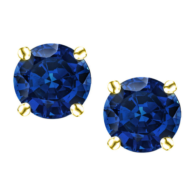 18 Karat Yellow Gold Synthetic Saphire 4-Prong Round Push Back Stud Earrings.  Available From .25 Carat To 4 Carat.