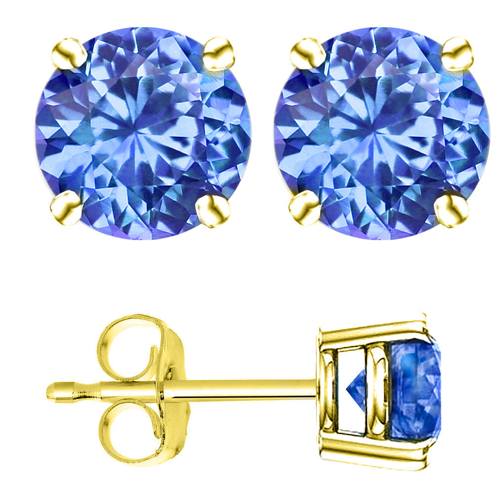 18 Karat Yellow Gold Synthetic Tanzanite 4-Prong Round Push Back Stud Earrings.  Available From .25 Carat To 4 Carat.