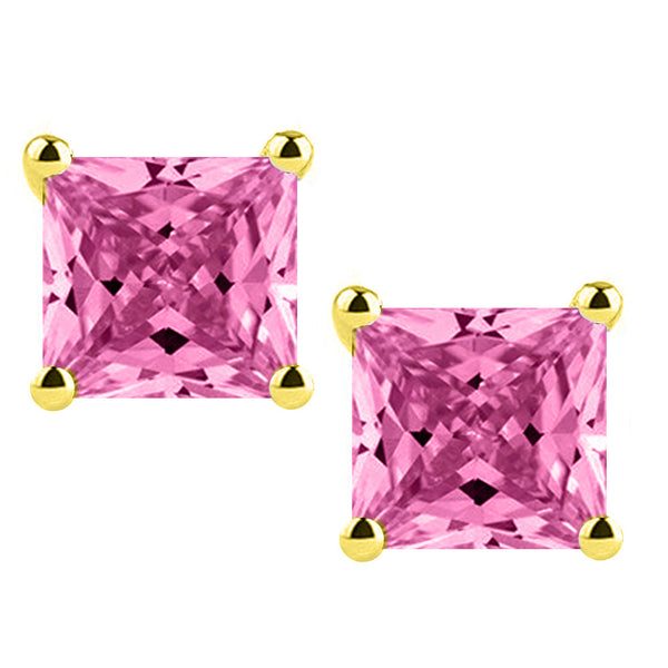 14 Karat Yellow Gold Synthetic Pink Topaz Stone 4-Prong Basket Princess Cut Push Back Stud Earrings. Available From .50 Carat To 4 Carat.