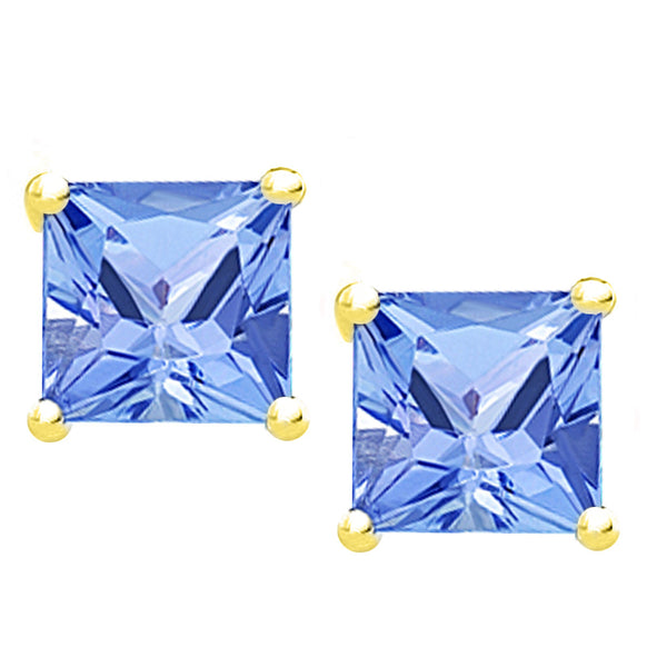 18 Karat Yellow Gold Synthetic Tanzanite 4-Prong Basket Princess Cut Push Back Stud Earrings. Available From .50 Carat To 4 Carat.
