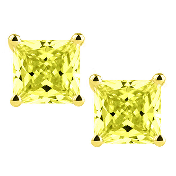 18 Karat Yellow Gold Synthetic Canary 4-Prong Basket Princess Cut Push Back Stud Earrings. Available From .50 Carat To 4 Carat.