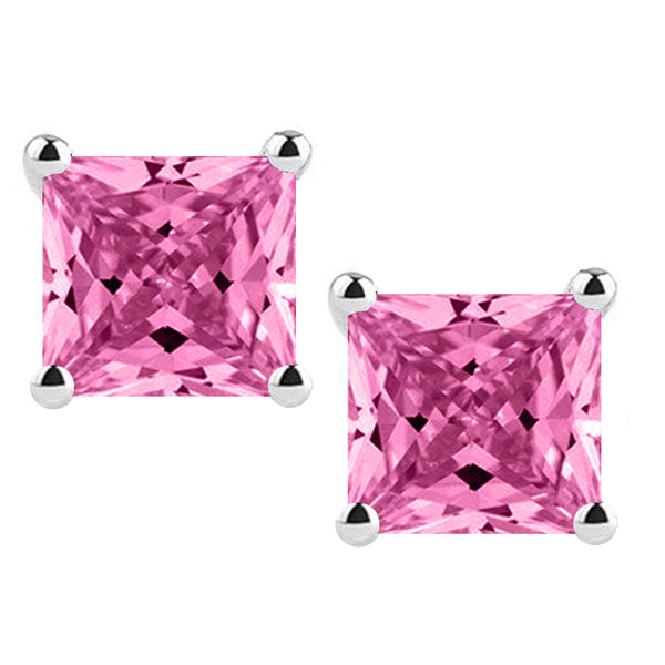 Platinum 4-Prong Basket Synthetic Pink Topaz Princess Cut Push Back Stud Earrings. Available From .25 Carat To 4 Carat.