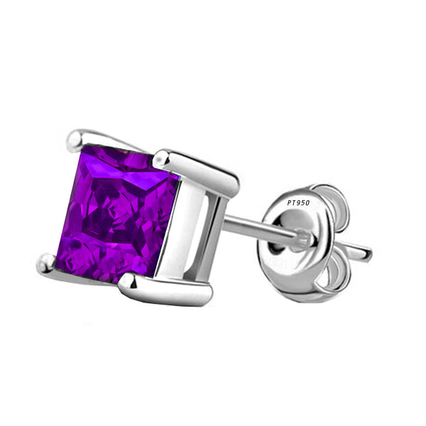 Platinum 4-Prong Basket Synthetic Amethyst Princess Cut Push Back Stud Earrings. Available From .25 Carat To 10 Carat.