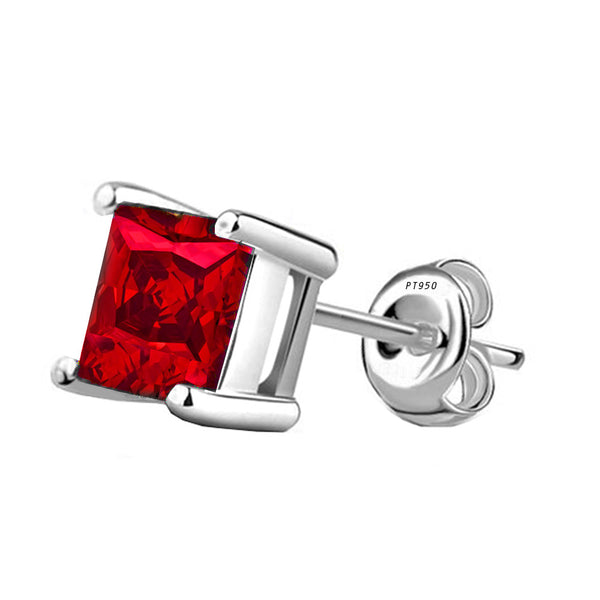Platinum 4-Prong Basket Synthetic Ruby Princess Cut Push Back Stud Earrings. Available From .25 Carat To 10 Carat.