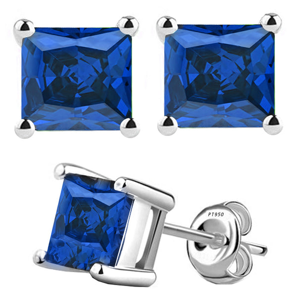 Platinum 4-Prong Basket Synthetic Saphire Princess Cut Push Back Stud Earrings. Available From .25 Carat To 10 Carat.