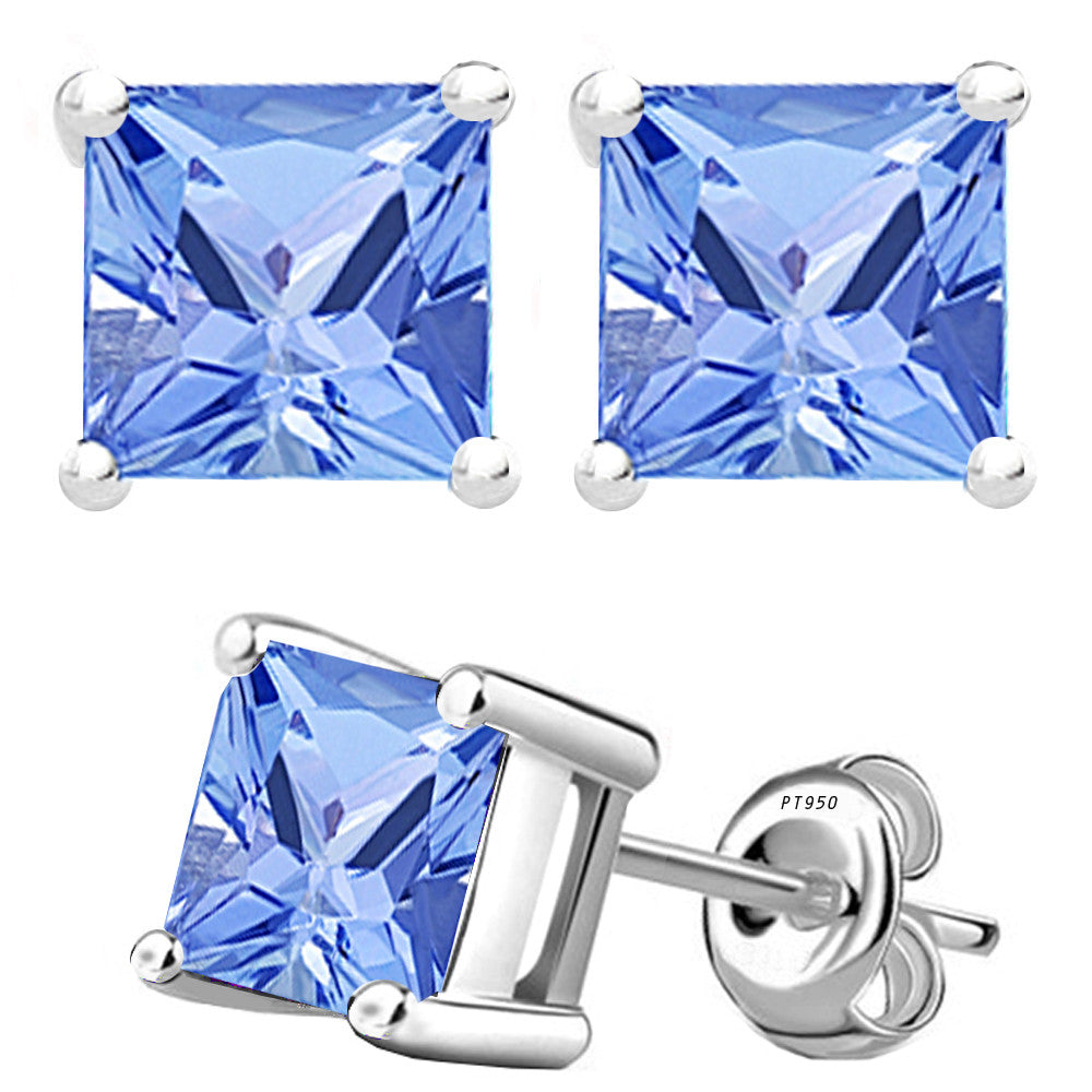 Platinum 4-Prong Basket Synthetic Tanzanite Princess Cut Push Back Stud Earrings. Available From .25 Carat To 4 Carat.