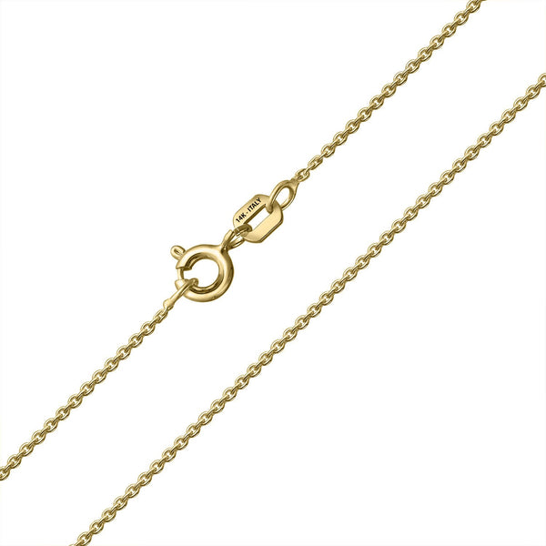 14 KARAT YELLOW GOLD CUSHION PENDANT WITH ROLO CHAIN. BUILD YOUR OWN PENDANT.