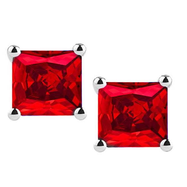 18 Karat White Gold Synthetic Ruby 4-Prong Basket Princess Cut Push Back Stud Earrings. Available From .50 Carat To 4 Carat.