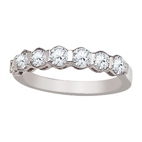 Wedding Ring With Round Stones with Pave Setting In 0.50 Carat Total Weight.