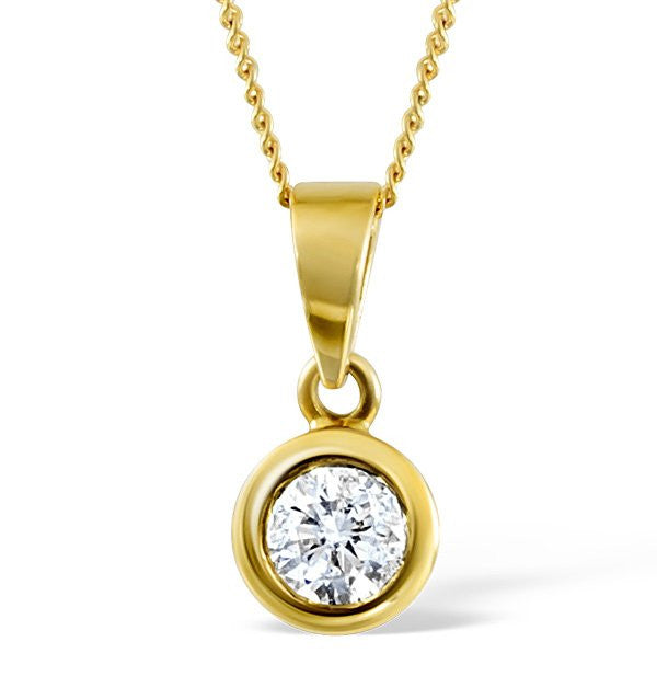 14 Karat Yellow Gold Round Shape Bezel Solitaire Pendant. Choose From 0.25 Carat To 5.00 Carat.