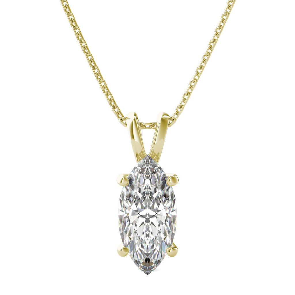 14 Karat Yellow Gold Marquise Shape Solitaire Pendant. Choose From 0.25 Carat To 5.00 Carat.