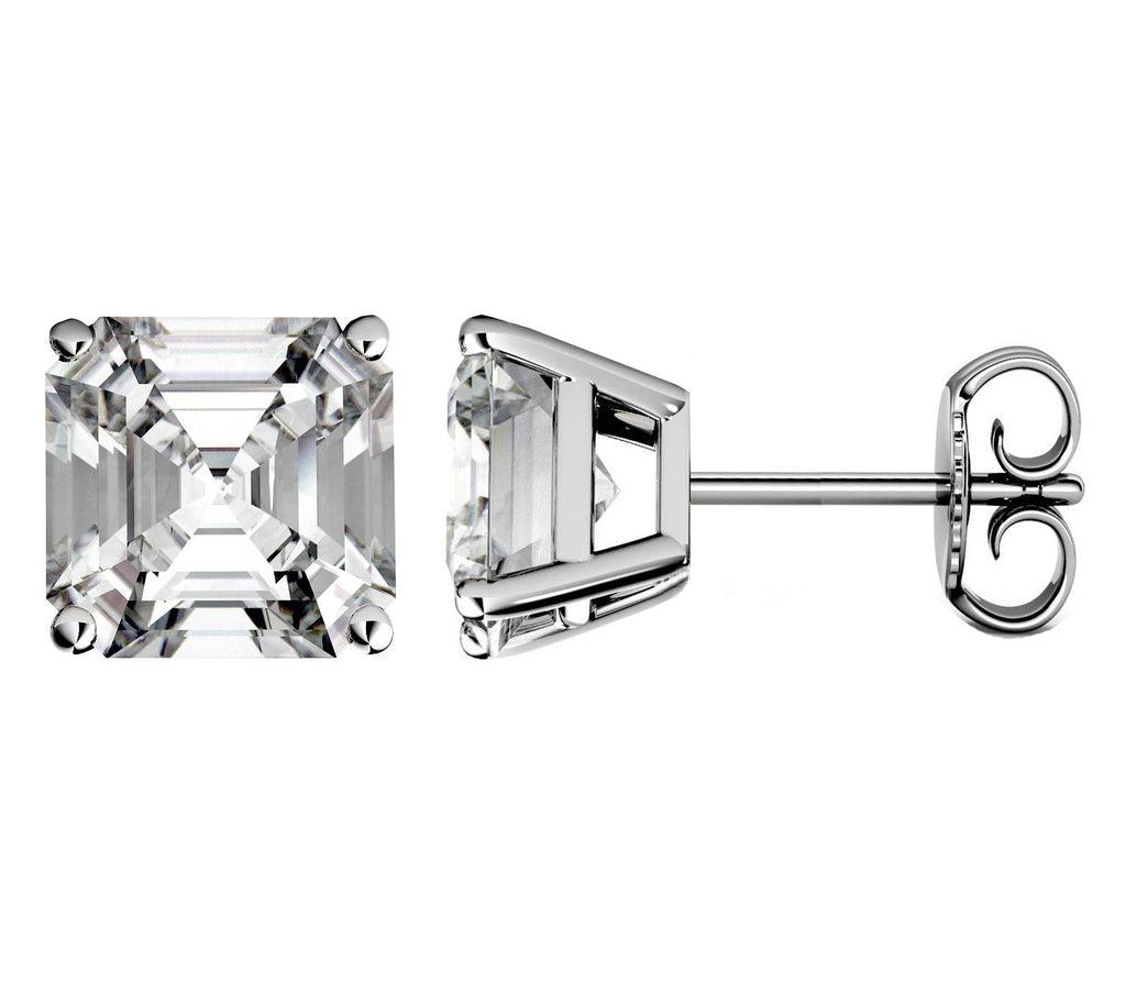 14 Karat or 18 Karat White Gold Asscher Cut Stud Earrings With Plain Post Backing. Choose From 0.50 Carat To 10.00 Carat Total Weight.