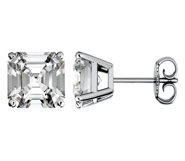 14 Karat Asscher Cut Stud Earring 4.00 Carat Total weight.