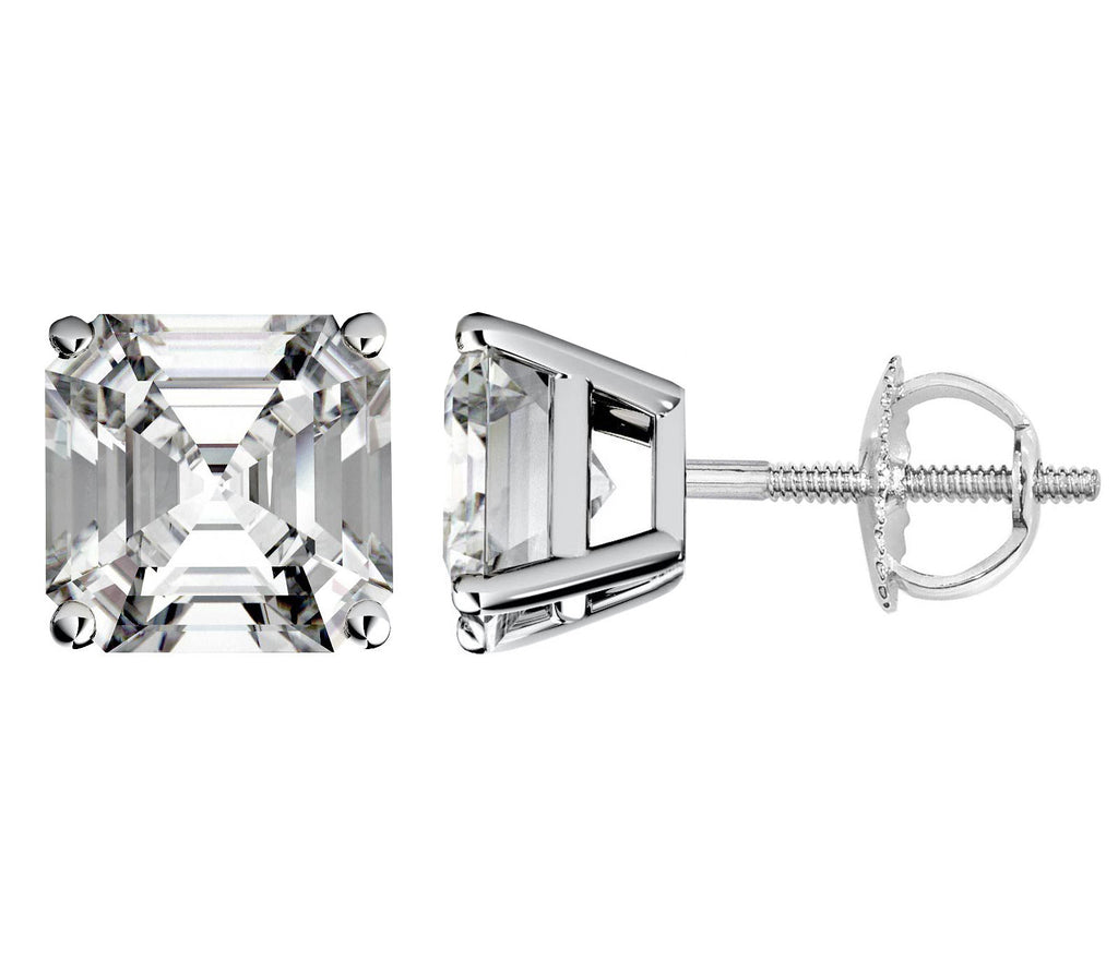 14 Karat Asscher Cut Screw Back Stud Earring 3.00 Carat Total weight.