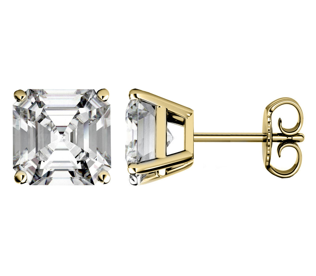 14 Karat or 18 Karat Yellow Gold Asscher Cut Stud Earrings With Plain Post Backing. Choose From 0.50 Carat To 10.00 Carat Total Weight.