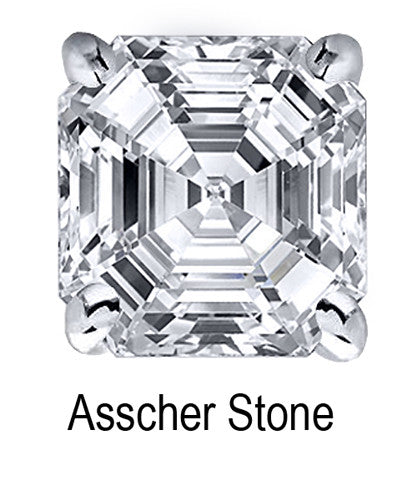 8.0mm Asscher Stone Cubic Zirconia Stone - 2.5 Carat Loose Stone