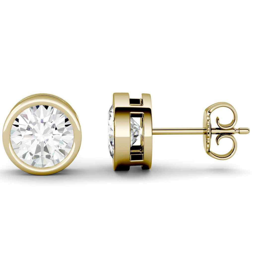 14 Karat or 18 Karat Yellow Gold Round Shape Bezel Stud Earrings With Plain Post Backing. Choose From 0.50 Carat To 10.00 Carat Total Weight.