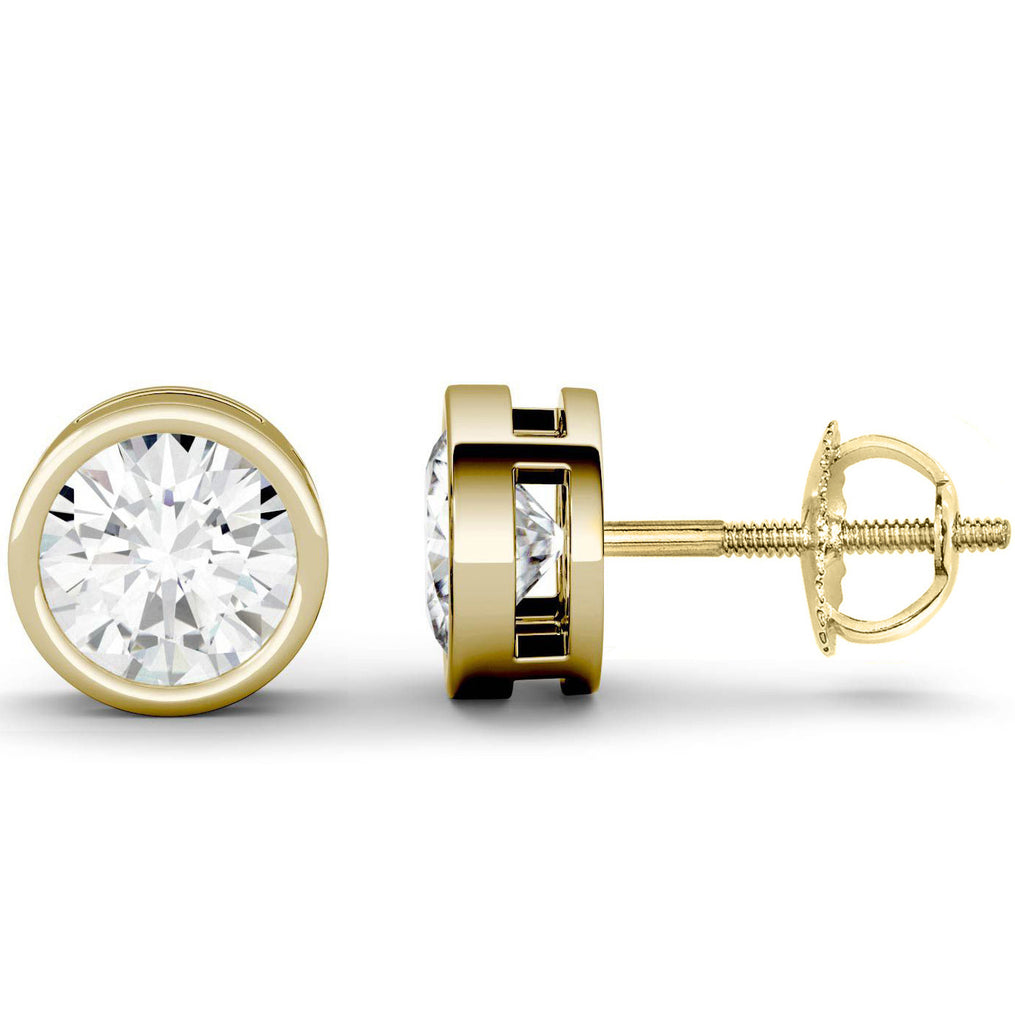 14 Karat or 18 Karat Yellow Gold Round Shape Bezel Stud Earrings With Screw Post Backing. Choose From 0.50 Carat To 10.00 Carat Total Weight.