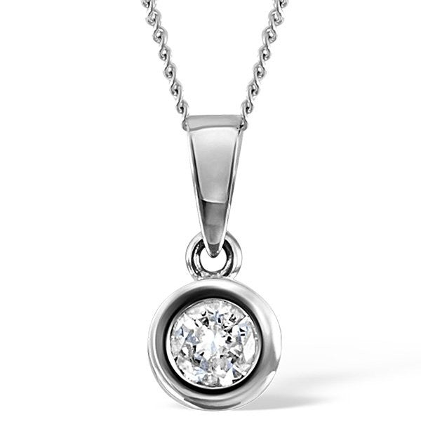 14 Karat White Gold Round Shape Bezel Solitaire Pendant. Choose From 0.25 Carat To 5.00 Carat.