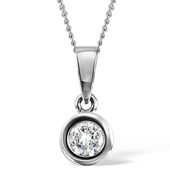 Platinum Round Shape Bezel Solitaire Pendant. Choose From 0.25 Carat To 5.00 Carat.