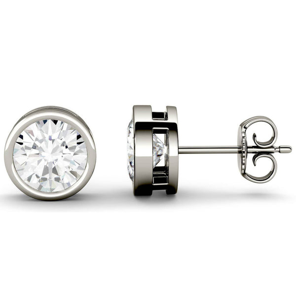 14 Karat or 18 Karat White Gold Round Shape Bezel Stud Earrings With Plain Post Backing. Choose From 0.50 Carat To 10.00 Carat Total Weight.