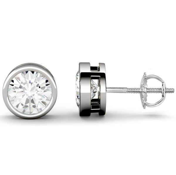 14 Karat or 18 Karat White Gold Round Shape Bezel Stud Earrings With Screw Post Backing. Choose From 0.50 Carat To 10.00 Carat Total Weight.