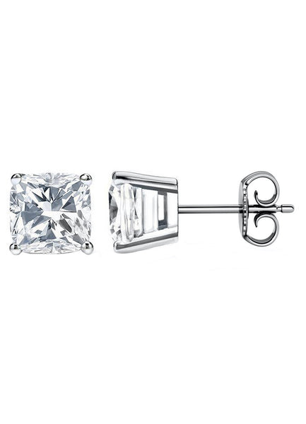 14 Karat Cushion Cut Stud Earring 8.00 Carat Total weight.