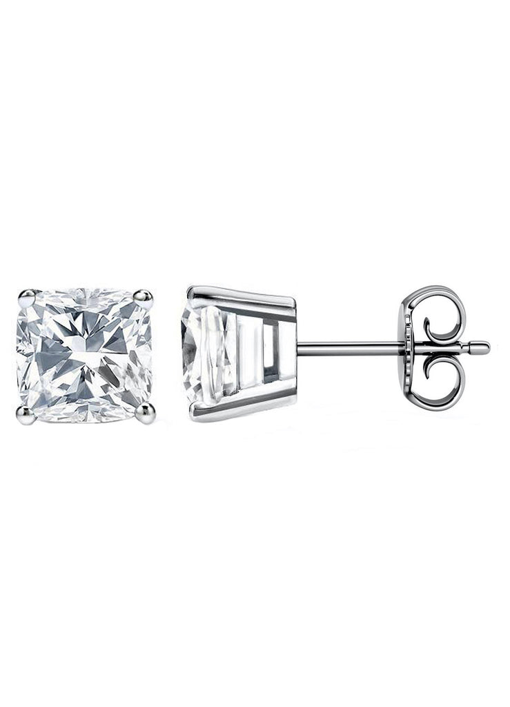 14 Karat Cushion Cut Stud Earring 4.00 Carat Total weight.