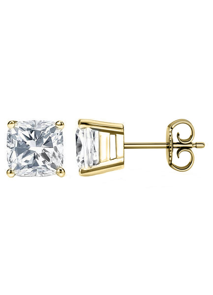 14 Karat Cushion Cut Stud Earring 6.00 Carat Total weight.